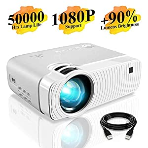 """Mini Projector, ELEPHAS 3500 Lux Portable Projector Max 180"""" Display 50000 Hours Lamp Life LED Video Projector Support 1080P, Compatible with USB/HD/SD/AV/VGA for Home Theater (White) …"""