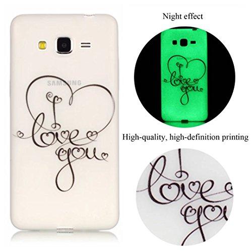 Vandot Etui Coque Housse Case pour Samsung Galaxy Core Prime G360F Bling Transparent TPU Bumper Fashion Créatif Souple Matte Cover - Avaler Light-cœur