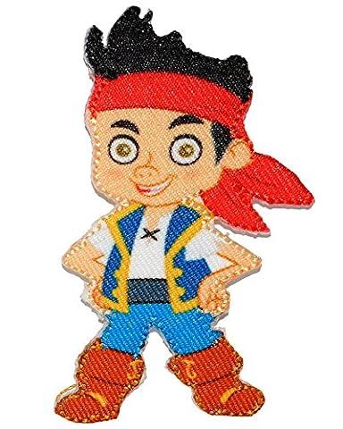 """Bügelbild - """" Disney - Jake und die Nimmerland Piraten """" - 5 cm * 8 cm - Aufnäher Applikation - Pirateninsel / Piratenschiff - gewebter Flicken - Jungen & Mädchen / Kinder - Käpn`t Jake´s / Peter Pan - Hook"""