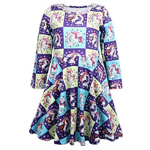 mama stadt Einhorn Kleid Mädchen Herbst Rundhalsausschnitt Cosplay Party Hochzeit Prinzessin Kleid Dress Lange Ärmel - Unsere Stadt Kostüm Fotos