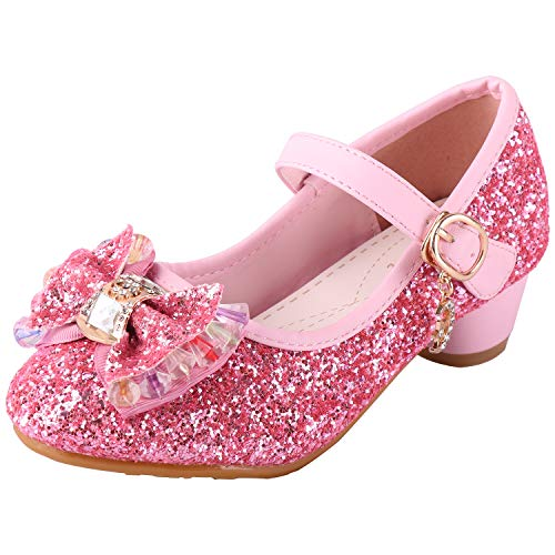 ead52c26c5993 Baterflyo Girls Princess Cosplay Party Shoes Glitter Mary Jane Dress Shoes  Low Heeled, 11.5 UK Child, Pink