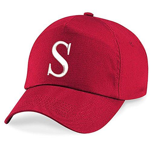 Casquette 4sold Unisexe Broderie Coton Baseball Cap Garçons UV 200 Filles Hip Hop Flat Hat Bonnet A-Z Alphabet Bringt Rouge S