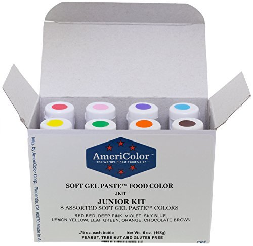 AmeriColor Soft Gel Paste Food Color, Junior Kit-8 assorted colors,0.75 oz bottles by AmeriColor -