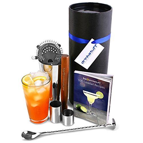 Luxury Home Ensemble de cocktail avec livre par Bar @ drinkstuff Ensemble de cadeau de cocktail avec Boston Shaker à cocktail en étain et verre, livre de recettes, passoire, pilon, cuillère torsadée, 25 ml & 50 ml Barre de dé à coudre sur mesure