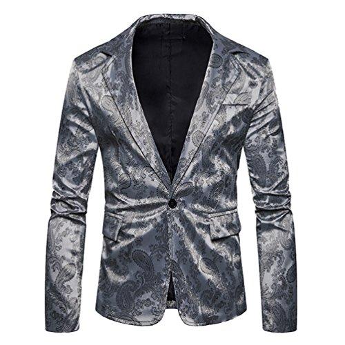 Zhiyuanan Herren One Knopf Blazer Jacke Chic Paisley Jacquard Hochzeitsanzug Slim Fit Smart Mantel Sakko Jacke -