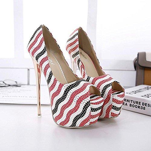 LvYuan-mxx Chaussures femmes talons hauts / printemps été / chaussures princesse romaine / chaussures bouche de poissons Plateforme étanche / Nightclub sexy / Bureau & Carrière Party & Evening Dress / PINK-US657EU37UK455CN37