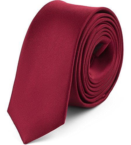 Ladeheid Herren Schmale Krawatte SP-5 (150cm x 5cm, Weinrot)