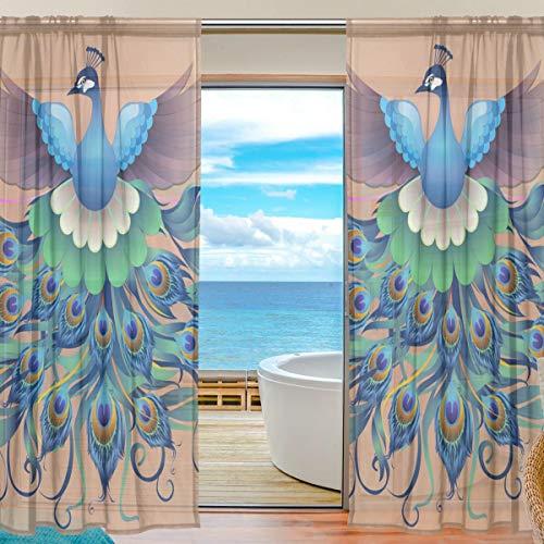 TIZORAX Vorhang mit Pfauenfedern, durchsichtig, für Wohnzimmer, Gardinenstange, Fensterbehandlung, Vorhang, Voile, für Schlafzimmer, 1 Paar, 139,7 x 198 cm, Polyester, Multi, 55