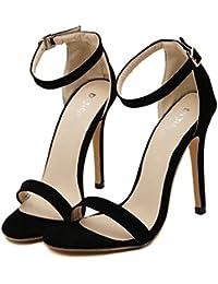 YOGLY Femme Sandales Boucle Bout Ouvert Escarpins Été Sexy Talon Aiguille  Chaussures à Talons Hauts Club 920536a5cf25