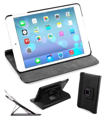 DURAGADGET Housse Etui Rotatif 360° aspect cuir noir pour Apple iPad Air tablette 9,7″ (sortie 2013) écran Retina Wi-Fi + 4G LTE 64 bits – vue horizontale ET verticale + stylet rose fuchsia forme crayon bonus