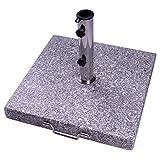 Nexos Sonnenschirmständer Granit poliert Grau eckig mit Griff Rollen Reduzierhülsen Edelstahlrohr 50 x 50 cm 40 kg für Schirme bis 5 m