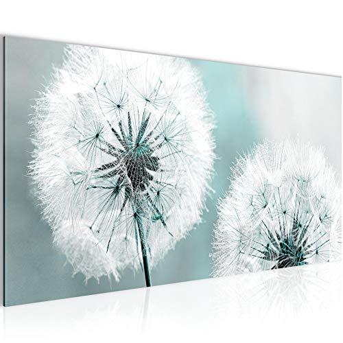 Bilder Blumen Pusteblume Wandbild 100 x 40 cm Vlies - Leinwand Bild XXL Format Wandbilder Wohnzimmer Wohnung Deko Kunstdrucke Blau 1 Teilig - Made IN Germany - Fertig zum Aufhängen 207112b