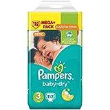Pampers Baby Dry Mega Plus Pack, Größe 3.5 - 9 kg, 1er Pack (1 x 112 Stück)