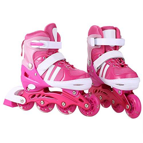AMdirect Einstellbare Indoor Outdoor Leichte Inline Skates mit Vollblinkrad für Kinder Jungen Mädchen Canvas Inline Rollerblades (S: 31-34 / M: 35-38 / L: 39-42) (Rosa, 31-34) (Kid Schuhe Knochen)