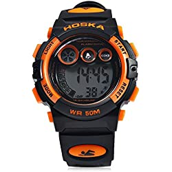 Leopard Shop HOSKA H002S Kid Sports Digital Watch with Day Chronograph LED Light Wristwatch Water Resistance Black Orange