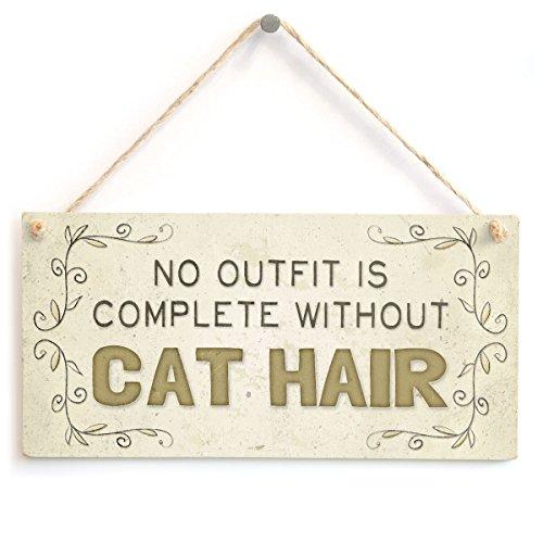 BBCUE Holzschild zum Aufhängen, Aufschrift No Outfit is Complete Without Cat Hair