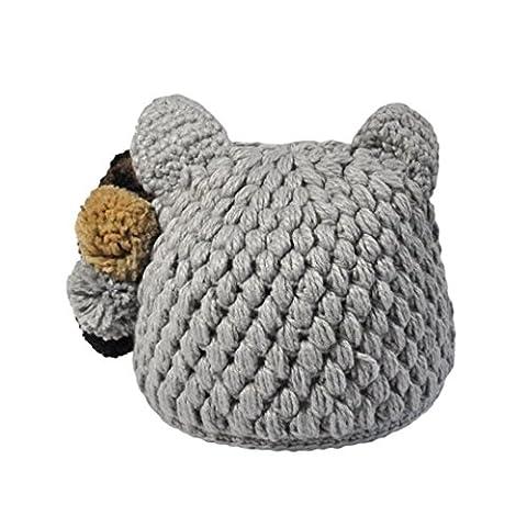 Womens Beanie,Clode® Women Lady Girls New Fashion Design Cat Ear Hat Winter Crochet Hat Wool Knit Beanie with Bobble Warm Cap Pom Pom (Gary)