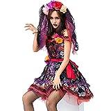 LYQ Princess Erwachsene Damen Mädchen Rose und Schädel Druck Geist Braut Halloween Ostern Kostüm Cosplay Kostüm Playsuit (Größe : S)