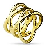 Paula & Fritz Double X 16mm breit Damen-ring Verlobungs-ring Freundschaftsring Herrenring Partnerring Edelstahl Chirurgenstahl 316L gold 50 (16)