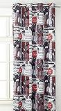 Linder 0551/49826/69/375FR Vorhang, abdunkelnd, bedruckt, Converse rot schwarz mit Ösen, 145 x 260 cm