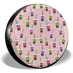 Dem Boswell Reserverad Reifenabdeckung Boba Bubble Tea Trinkwasser Polyester Universal Wasserdicht Staubdicht Sonnenschutz Universal Fit