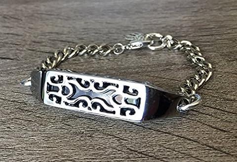 Élégante Grande en métal argenté Bracelet pour Fitbit Flex 2Smart tracker fin fait à la main Bracelet Bracelet chaîne Taille réglable 15,2cm–20,3cm