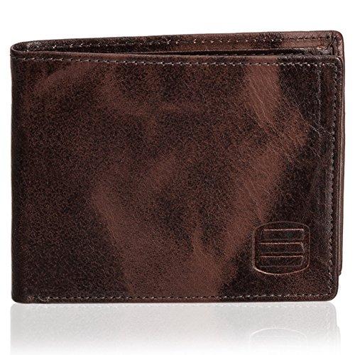 Suvelle Men's Slim Leather Bifold Wallet, Removable Flip up ID Window Wallets, W031