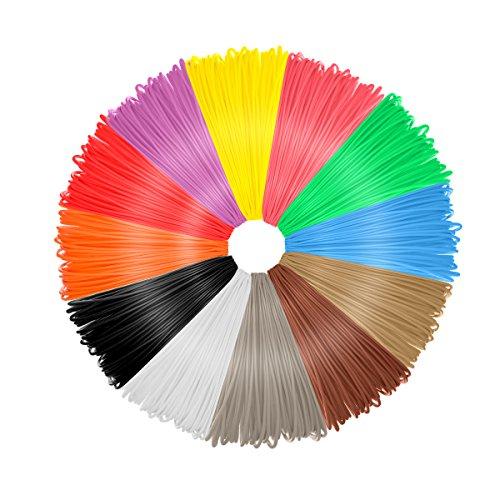Fall E PLA 12sortierte Farben 20Füße 3D Filament für Drucker und Stifte, 1,75mm Durchmesser, maßhaltigkeit +/-0,03MM