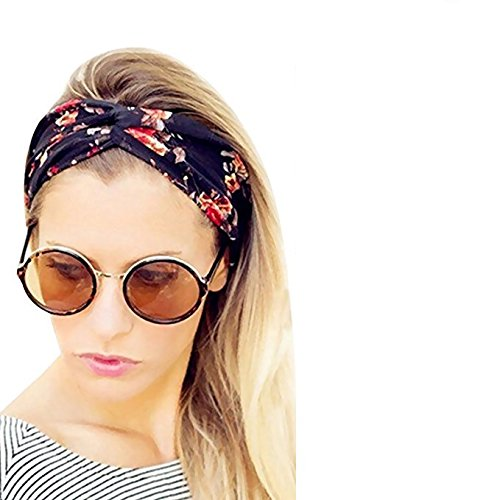 Chronex Hair head Bands Floral twisted head wrap Yoga Hair Accessories - Navy Blue
