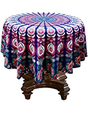 RHF 100% Cotton Mandala Dining Table Cover- Round Tablecloth (Multicolor-, 70Inch)