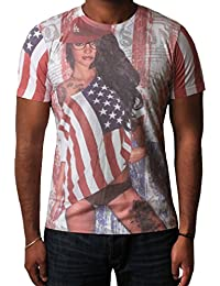Men's T-shirt USA Flag Sublimation Printed Graphic Top Short Sleeve Dissident