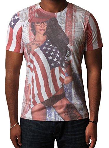 T-shirt pour homme Dissident USA Flag Sublimation Imprimé Graphic Top à manches courtes Blanc / Rouge Imprimer