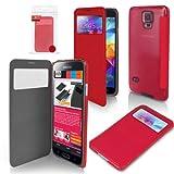 ORZLY® - GALAXY S5 Display Case - Fenster Schutzhülle in ROT für SAMSUNG GALAXY S5 - Horizontal Flip Style Phone Case / Cover in RED - Entworfen von ORZLY® ausschließlich für SAMSUNG GALAXY S5 Full Size Modell SmartPhone / Mobille Handy / Phablet (Alias: SM-G900H Modell / SM-G900F Modell) von 2014