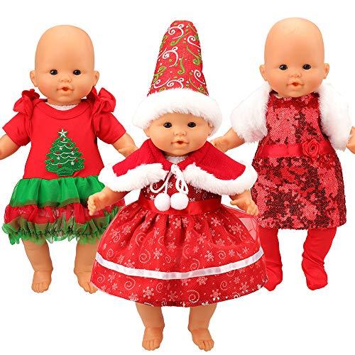 Miunana 3 Tenues Spéciales Vêtements Robes de Noël pour La Poupée Corolle ou La Poupée Poupon de 36 CM Cadeau de Noël pour Les Enfant