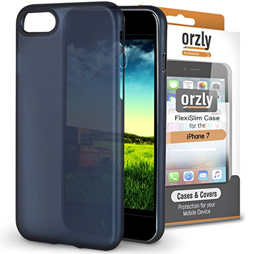 iPhone 8 Case, Orzly® - Funda FlexiSlim ULTRA FINA (0,24mm) para Apple iPhone 8/iPhone 7 (4,7 Pulgadas) - Funda Semi Transparente en AZUL [Compatible con carga inalámbrica]
