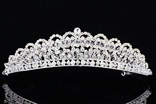 Venus Jewelry Damen Gorgeous Perlen-Design Strass Kristall Braut Tiara Krone T899