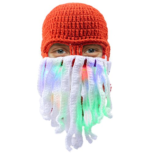 (Aomeiqi Lustige Bartmütze, LED Mütze Strickmütze Weihnachtsmütze mit Bart Maske und farbige Lichter, Leuchten Hut Partyhut Wintermütze für Disco, Party, Geburtstag (Bartmütze))