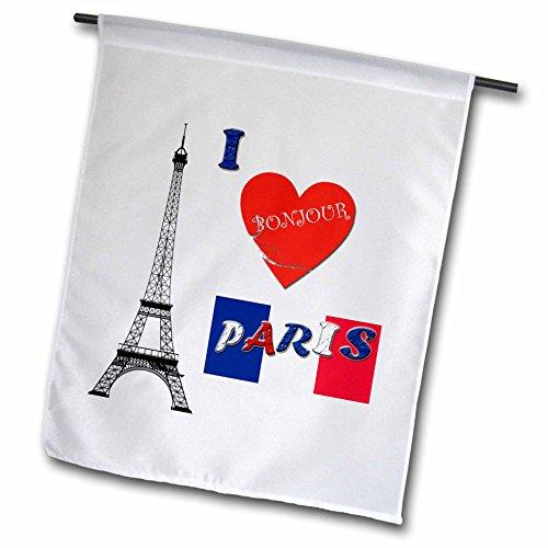 3drose I Love Paris. Frankreich. Französische Flagge. Sprichwort.–Garten Flagge, 12durch 45,7cm