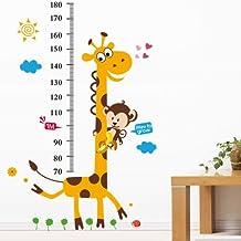 YESURPRISE Vinilo Pegatina Decorativa Infantil Adhesiva Para Pared Dibujos Animados Jirafa Mono Con Regla (Regalo Gratis De Lupa De Regla Separador De Página)