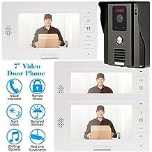 """KKmoon 7"""" Timbre Video Portero Intercomunicador (Cámara de Vigilancia, Desbloqueo Remoto, 3 Monitor Pantalla TFT LCD, 3 IR LED Visión Nocturna)"""