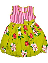 Kilkari Kid's Cotton Baloon Sleeveless Frock_Green