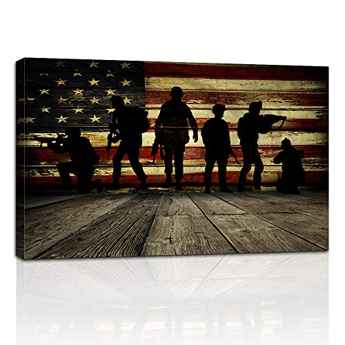 AMEMNY Holzflagge Wand und 6 Soldaten Bilder für Wohnzimmer Leinwanddruck Retro Vintage American Flag Modern Art Gemälde Poster und Drucke Giclée-Druck Kunstwerk Antik 24inchx36inch Zlpzj-Flag 1 (American Flag-bild)