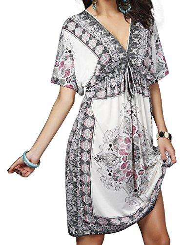 Aixy Femme Robe de Plage Manches Courtes ¨¤ Col V Chiffon Cover Ups Blanc