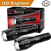 REHKITTZ Torcia Super Luminosa Portatile LED Torcia (2 Confezioni), 1000 Lumen Torcia Elettrica,Militare Torcia,Tattica Torcia,Impermeabile IP44 e 5 modalità di Illuminazione