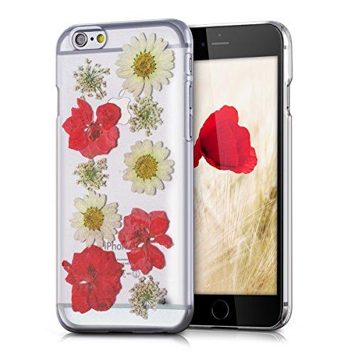kwmobile Crystal Hülle für Apple iPhone 6 / 6S Hard Case - dünne durchsichtige transparente Schutzhülle Cover klar in Transparent Echtblumen Rot Beige Transparent