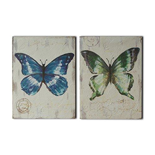 CVHOMEDECO. Pintura de bajo relieve con diseño de mariposas pintadas a mano...