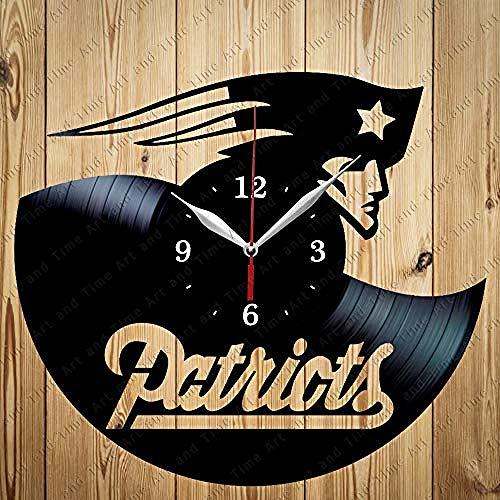 AIYOUBU New England Patriots Vinyl Uhr handgemachte Exklusive Uhr Art Decor Home Wanduhr schwarz originelles Geschenk einzigartiges Design