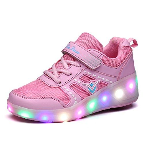 Unisex Kinder Mode LED Schuhe mit Rollen Drucktaste Einstellbare Skateboardschuhe Outdoor Gymnastik Turnschuhe Für Junge Mädchen (34 EU, Rosa 03)
