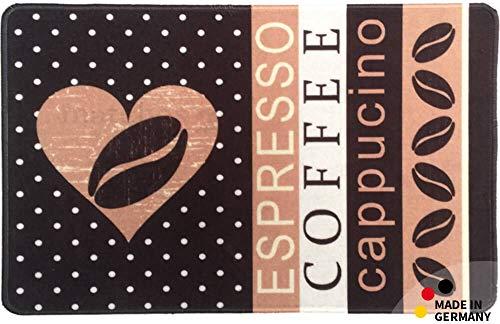 matches21 Küchenläufer Teppichläufer Teppich Läufer Coffee 50x80x0,4 cm maschinenwaschbar Rutschfest Küchenvorleger