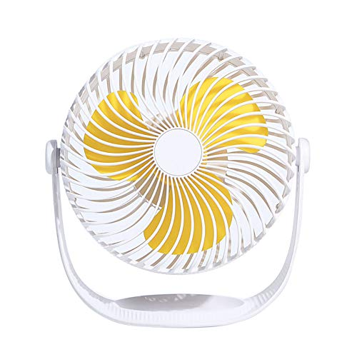 Sguan-wu USB Ventilator,Rotierender runder Mini-Tischlüfter USB Ladestation Halter Verstellbarer Kühler White -